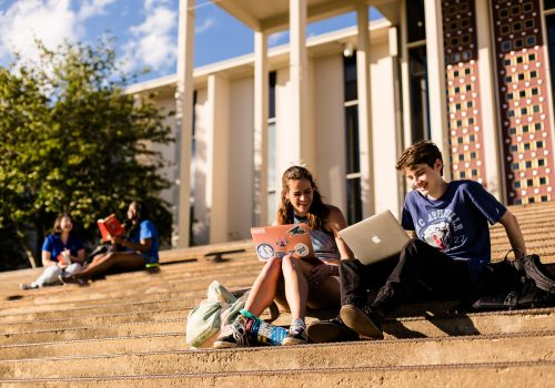 Students on Ramsey Library steps at UNCA.